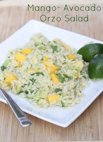 Mango-Avocado Orzo Salad - serve this vegetarian dish as a light lunch or a side dish for fajitas, carnitas or grilled chicken. | 5DollarDinners.com