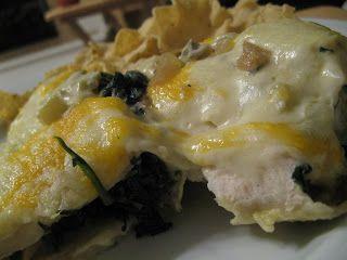 Julie's Foodie: Creamy Spinach, Mushroom & Chicken Enchiladas