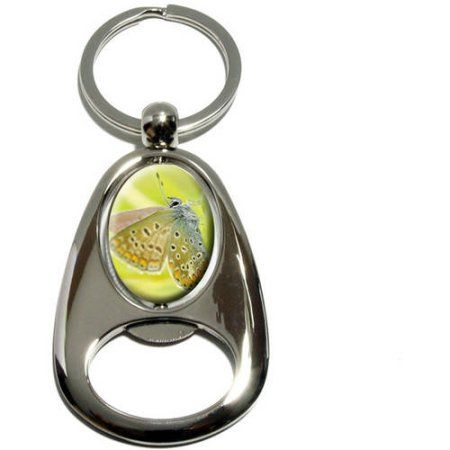 White Butterfly Moth, Chrome Plated Metal Spinning Oval Design Bottle Opener Keychain Key Ring, Silver