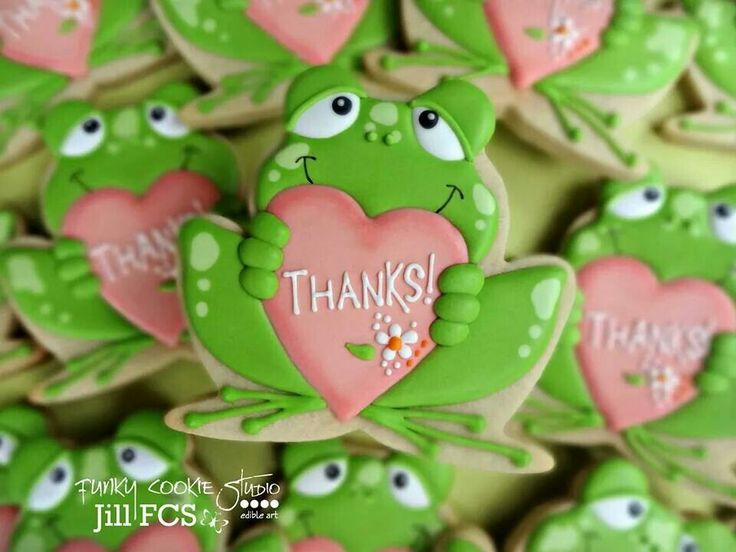 Frog Cookies~                By  Jill FCS, green, pink heart