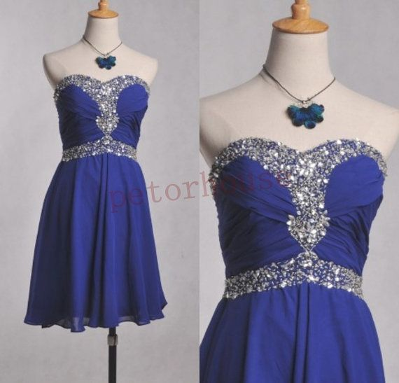 Dark Royal Blue Beaded Short Prom Dresses 2015 Hot by petorhouse