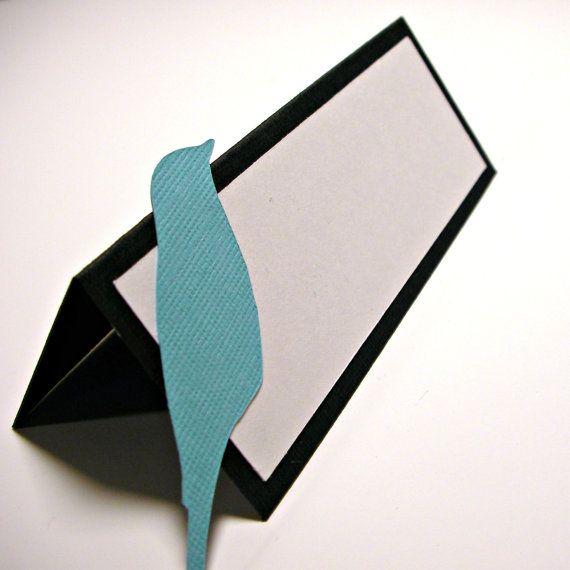 Bird Place Card / Escort Card Black White Blue Wedding Decoration Tented on Etsy, $1.25