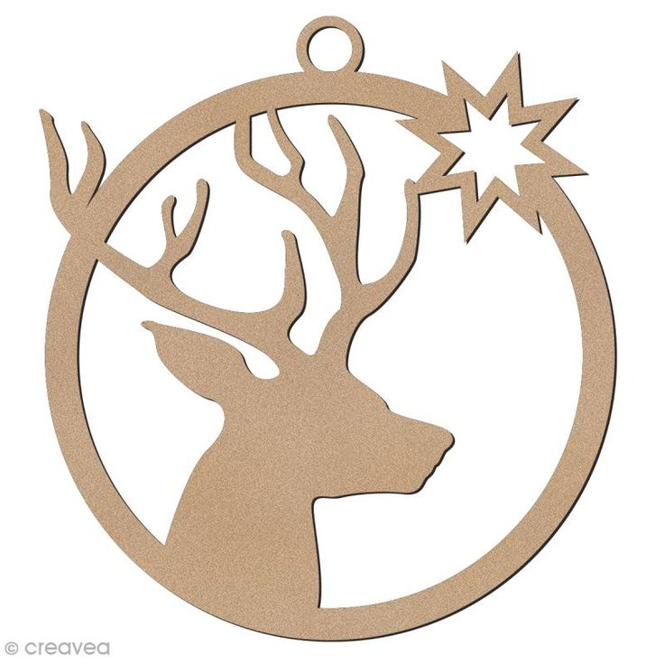 Compra nuestros productos a precios mini Forma de madera para colgar - Bola de Navidad Cabeza de ciervo - 7 cm - Entrega rápida, gratuita a partir de 89 € !