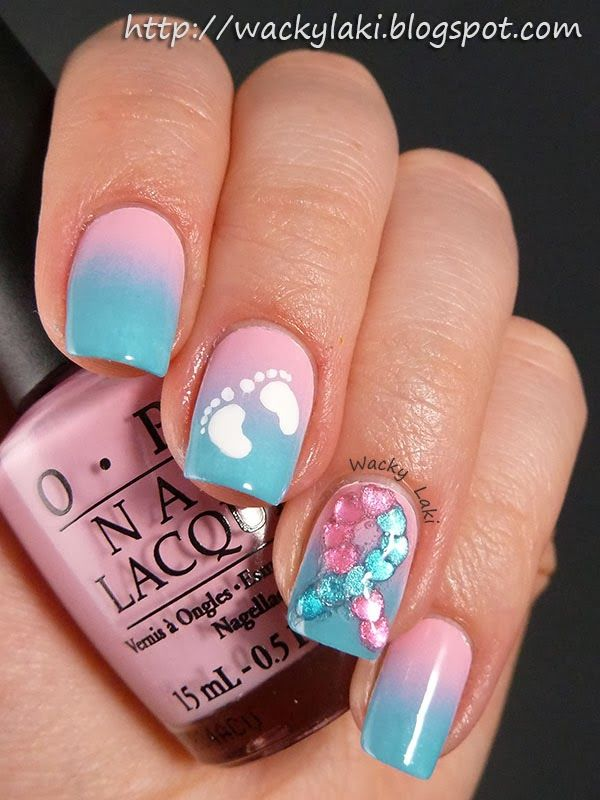 pink blue nails ideas