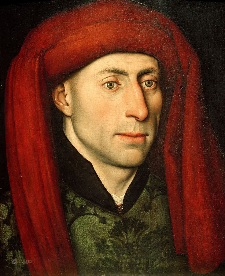 Jacques Daret (attr.) - Portrait of a man with red chaperone