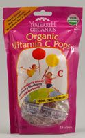 Yummy Earth Organic Vitamin C Pops - 3 oz/15 Lollipops. USDA Organic Vitamin C Drops Strawberry Smash™, Tooberry Blueberry™, Razzmatazz Berry™ 100% Daily Vitamin C. Planet friendly™ - Real fruit extracts™ - No artificial dyes or flavors™. http://www.vitacost.com/yummy-earth-organic-vitamin-c-pops-3-oz