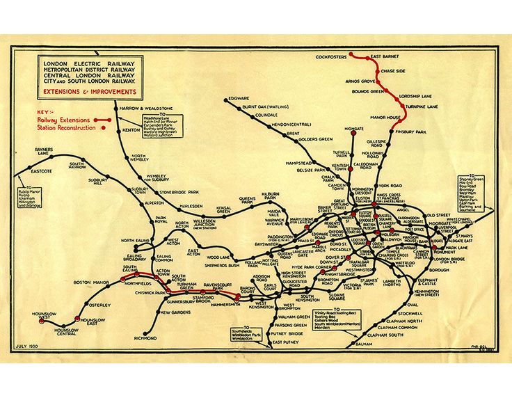 1930 London Underground Railway Map Poster Print Reproduction Electric Metropolitan Central City South Railroad Vintage Wall Fabric Decal by StreamlineDesign on Etsy