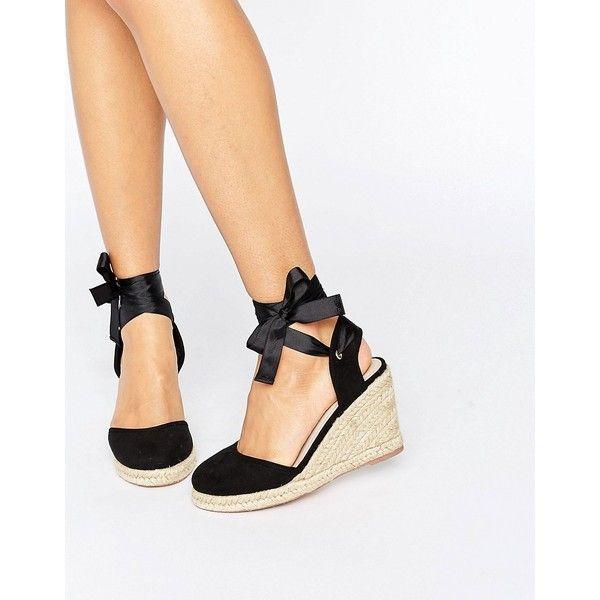 ASOS JUICIER Tie Leg Espadrille Wedges (2.075 RUB) ❤ liked on Polyvore featuring shoes, sandals, black, black braided sandals, lace up sandals, black wedge heel sandals, espadrille wedge sandals and wedge sandals