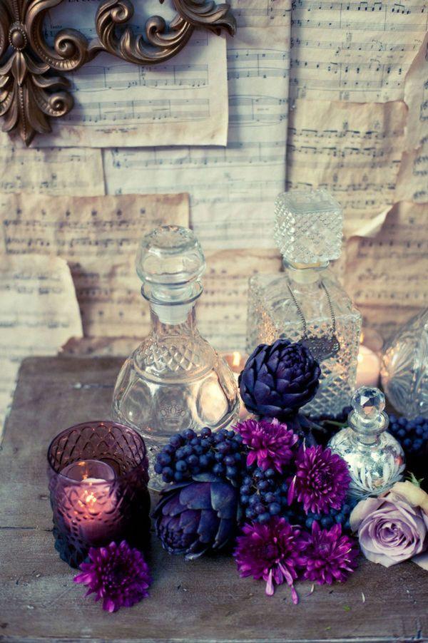 allestimento con fiori viola e carciofi #purplewedding #ultraviolet