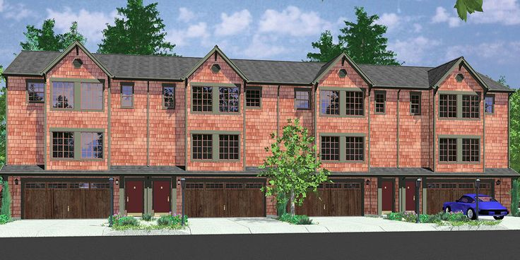 House front color elevation view for f 546 fourplex house for 4 plex townhouse plans