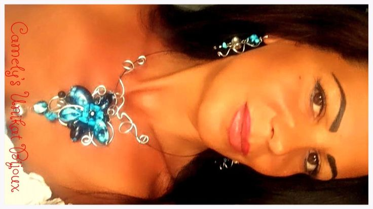"Set Wire Wrap Necklace and Earrings ""BLUE NIGHT"" from CamelysUnikatBijoux by DaWanda.com"