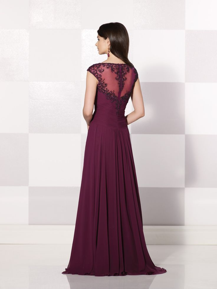 Chiffon A-line dress with cap sleeves trimmed with hand-beading, beaded illusion bateau neckline over a sweetheart crisscross ruched bodice with beaded sheer back, skirt gathered at waistline, sweep train, suitable for the mother of the bride or the mother of the groom. As shown in Plum: Embellish by David Tutera earring style Taylor and bracelet style Taylor sold separately. As shown in Blue Willow: Embellish by David Tutera earring style Jessica and ring style Rosalyn sold ...