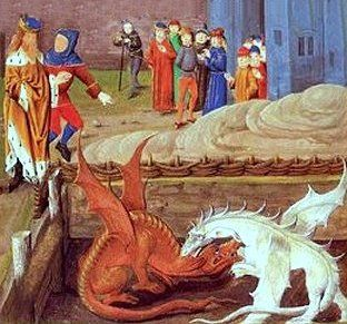 : Medieval depiction of the story of Merlin and the two dragons related by Geoffrey of Monmouth.