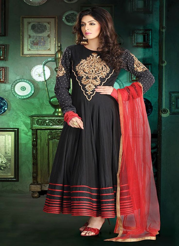 Women Attractiveness Is Magnified Tenfold With This Alluring Black Faux Georgette Ready Made Salwar Kameez. The Ethnic Gold Zardosi Patch Work Polka Dotted Resham Work To The Dress Adds A Sign Of Attractiveness Statement With A Look.