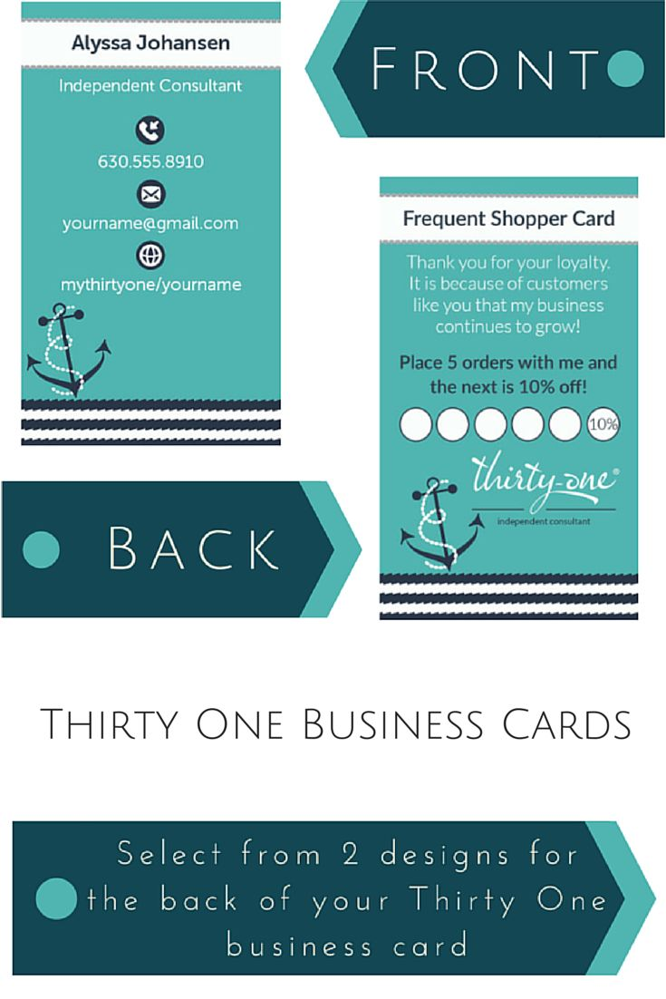 Thirty e Business Cards Navy Wave W Anchor inspired
