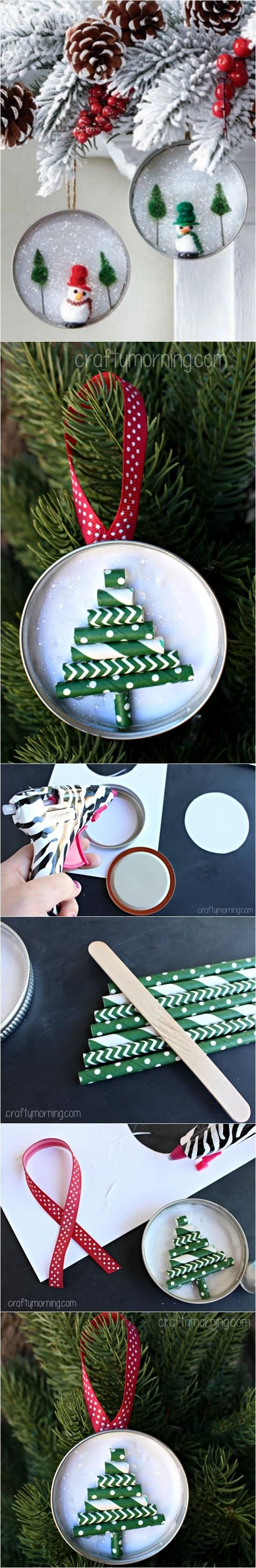 Mason Jar Lid Ornament (Straw Christmas Tree) | DIY Crafts Club