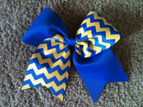 Big 3 Tick Tock Cheer Bow Royal Blue Gold by KeelieCakesBows, $5.00