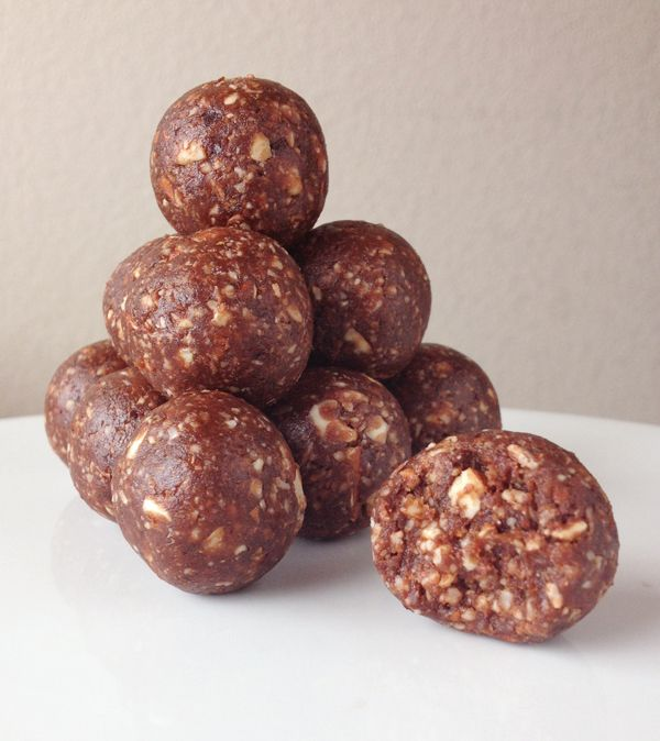 Paleo Life | Chocolate Brownie Bites        1 cup raw Almonds      1-1/2 cups pitted Medjool Dates (approximately 10-11 dates)      3-1/2 Tbsp Cocoa Powder (try to use the good stuff)      4 Tbsp Shredded Unsweetened Coconut      ⅛ tsp salt      1 tsp Pure Vanilla Extract (I never measure, so pour in what makes you happy)      Water