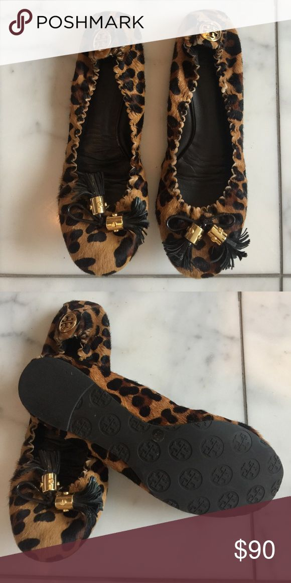 Tory Burch Leopard flats Excellent condition Tory Burch leopard flats,  black patent leather tassels, trimmed in gold Tory Burch Shoes Flats &  Loafers