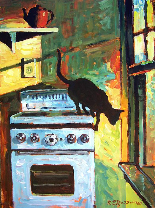 BLACK CAT IN THE KITCHEN