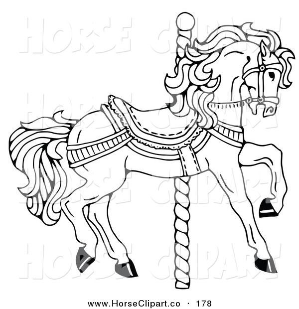 ... Art of a Carousel Horse Facing Right, on a Spiral Pole, Coloring Page