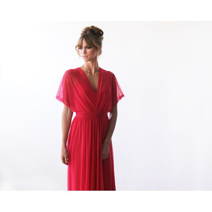 Coral Maxi Dress, Chiffon Dress, Bridesmaids Maxi Dress, Bat Sleeves Dress, Batwing Dress - Blushfashion. Get a deep and rich dress full of color for prom or formal. This wedding bridesmaid dress is perfect for a summer or fall wedding event. Beautiful Blushfashion dress by an Israeli designer.  Custom Orders for Bridesmaids or large groups available. Simply inquire at www.styleandpose.com