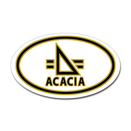 ACACIA fraternity Flying Triangle oval auto sticker.
