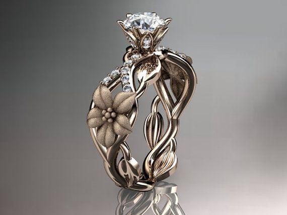 Hipster Wedding Unique Rose Gold Diamond Floral Leaf And Vine Ringengagement Ring