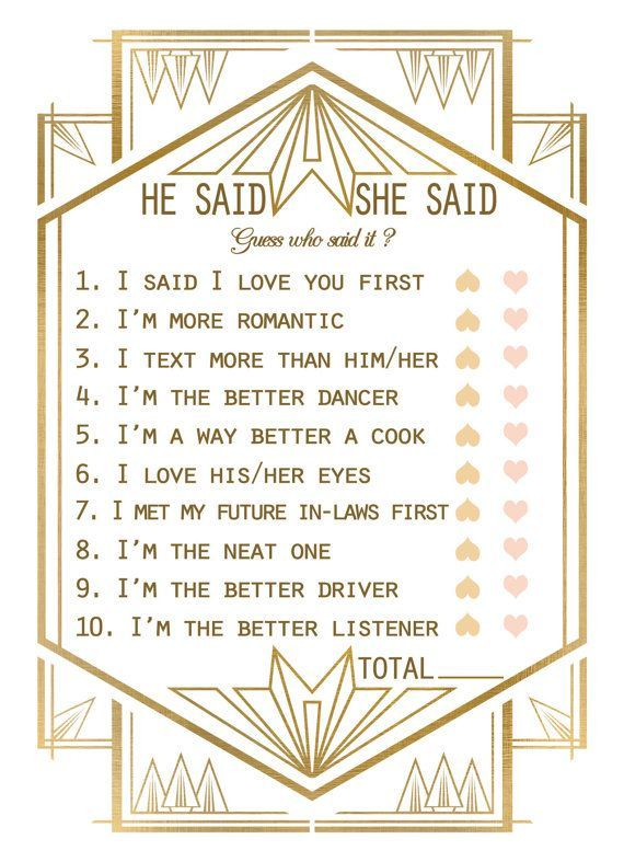 gatsby bridal shower game template bridal shower he said she said game art deco design or any