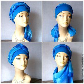 Купить Чалма синяя тюрбан - пляжная мода, пляжная одежда, большие размеры, голубой