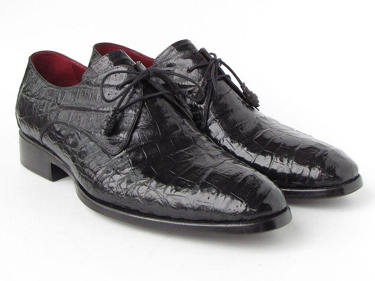 PAUL PARKMAN ® The Art of Handcrafted Men's Footwear - Paul Parkman Men's Black Genuine Crocodile Derby Shoes (ID#55W77)