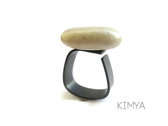 Sea Stone Ring - Square Oxidized Silver Ring - Pebble Oxidized Silver Ring - Sculptural Arty Minimalist Oxidized Ring - Contemporary Jewelry