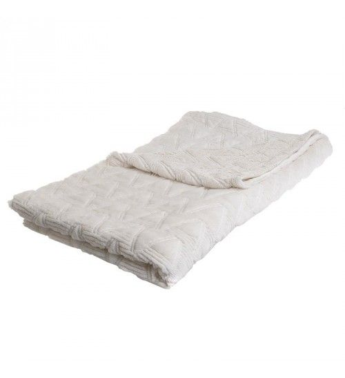 SYNTHETIC FUR THROW IN WHITE 150X180