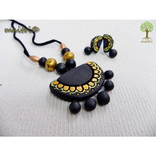 Terracotta Jewellery -  Black Half moon  www.facebook.com/maitri.crafts.maitri maitri_crafts@yahoo.com