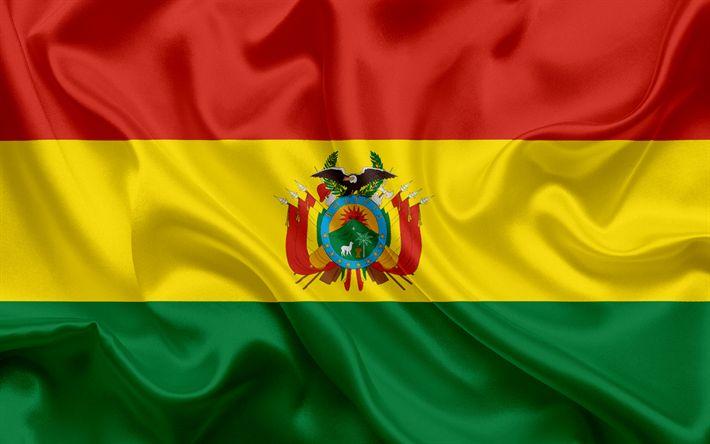 Download wallpapers Bolivian flag, Bolivia, national flag, national symbols, flag of Bolivia