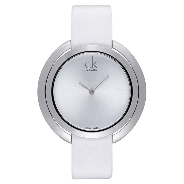Calvin Klein Women's White Leather and Stainless Steel Luxury Watch | Overstock.com Shopping - The Best Deals on Calvin Klein Women's Watches