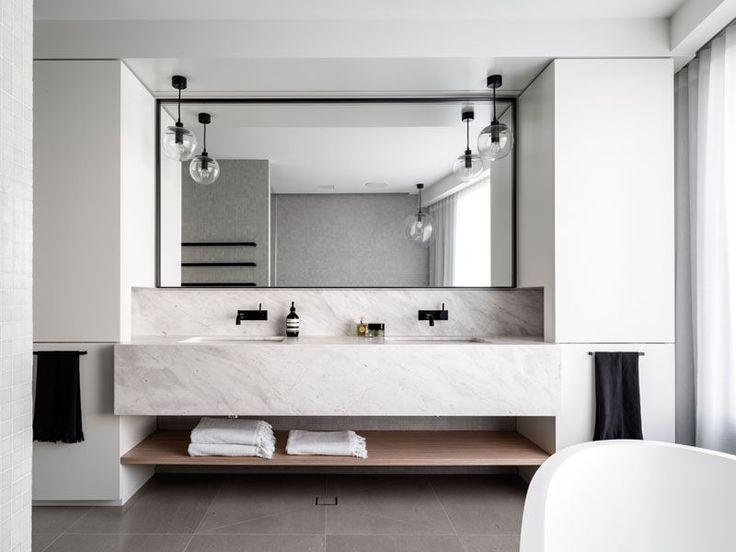 fr encimera corian con muebles bajo lavabo suspendido