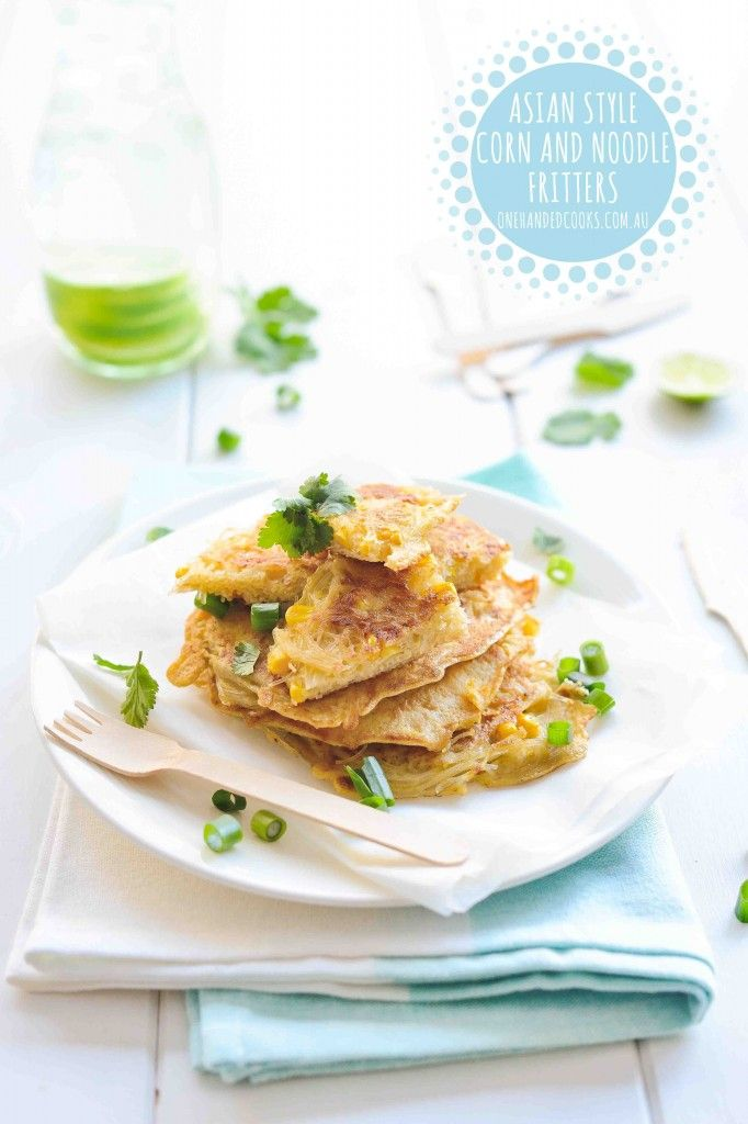 Asian Style Corn and Noodle Fritters Crispy and flavourful these super simple fritters can be on the table in around 20 minutes and can be adapted to include whatever veggiesyou have in the fridge. Exactly what you want after a busy day and you haven't had time to think about 'what's for dinner?'. Nutrition Note:Eggs …