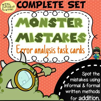 ***THIS PRODUCT IS THE COMPLETE SET OF MY 2 PRODUCTS: Error Analysis / Spot the Mistake Task Cards for Written Addition Methods Year 3 & 4 AND Error Analysis / Spot the Mistake Task Cards for Written Addition Methods Year 5 & 6 ***Master formal written methods of addition across the whole of Key Stage 2 with these error analysis / spot the mistake cards (UK) or grades 3-6.