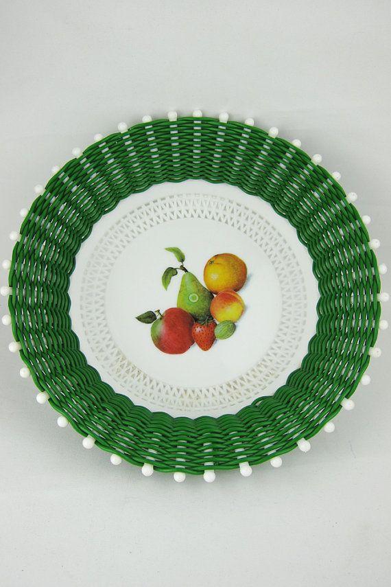 Vintage Green White Plastic Fruit Bowl Basket Woven