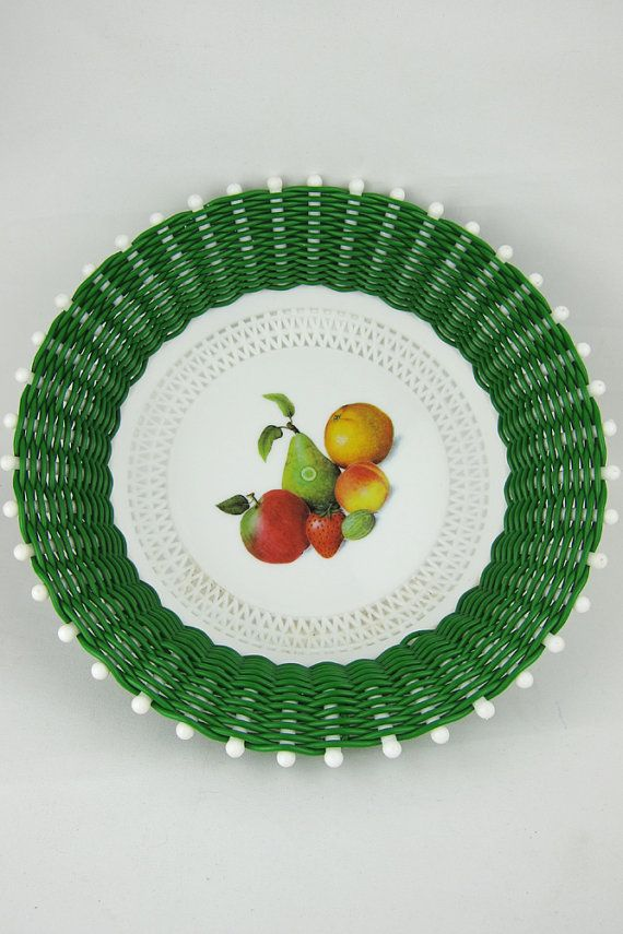 Vintage Green White Plastic Fruit Bowl Basket Woven