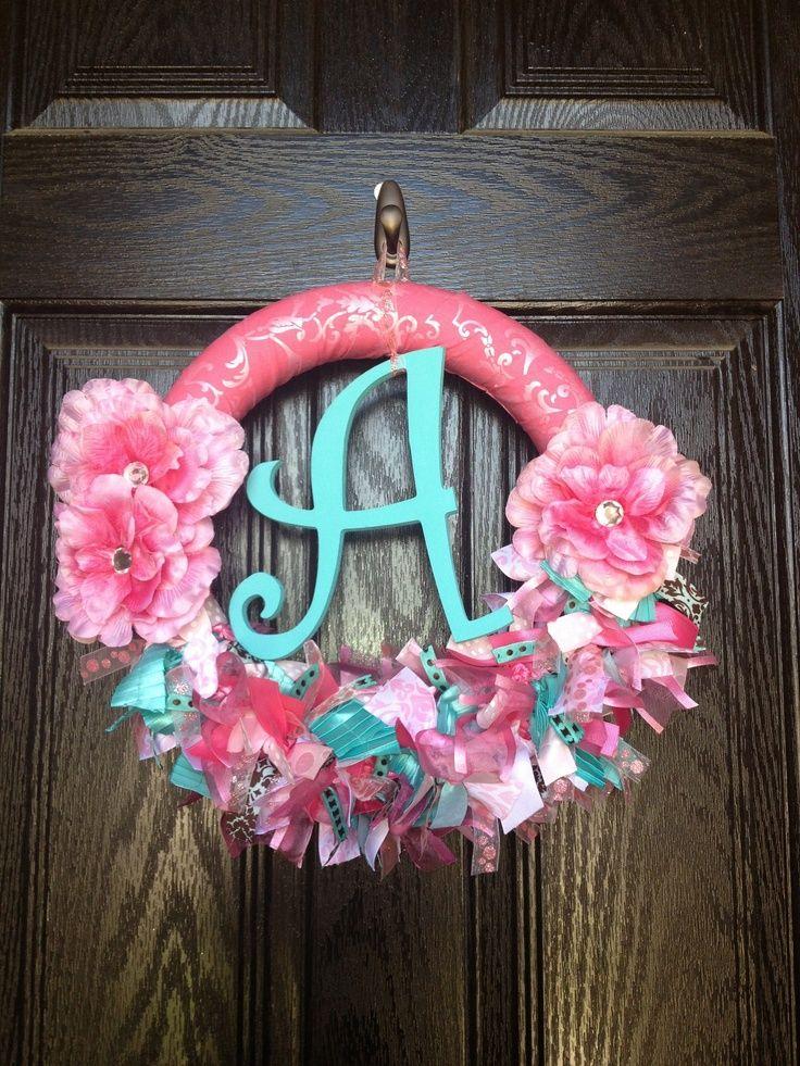 baby door wreaths | Baby Wreath.. Pink and Aqua Ribbon Rosette Wreath... Baby Girl Wreath ...