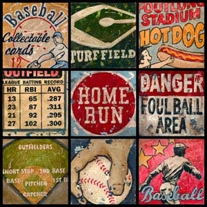 vintage baseball wall art - if Grayson ever wants a baseball style room, love the vintagey look!