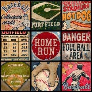 vintage baseball wall art - if Grayson ever wants a baseball style room, love the vintagey look!