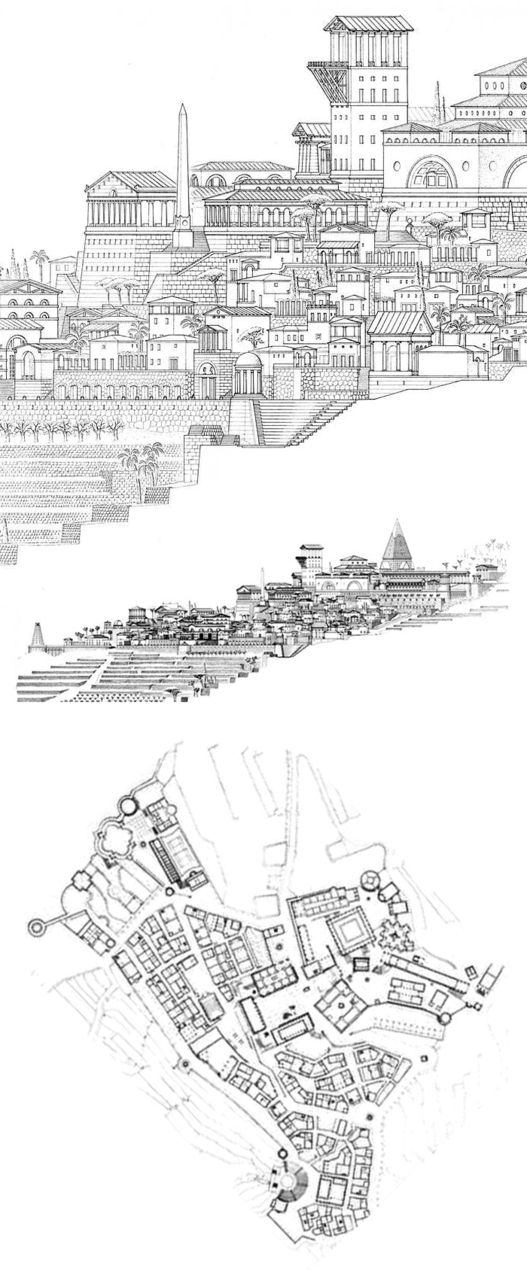 110329 - Leon Krier's Atlantis, 1987. Detail of elevation, elevation from east (from the bottom of the plan)