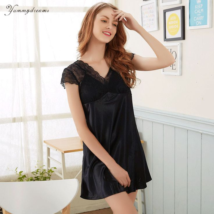 ==> [Free Shipping] Buy Best Yummydreams 2017 Ladies Sexy Silk Satin Night Dress Sleeveless Nighties Nightgown Plus Size Lace Sleepwear Nightwear For Women Online with LOWEST Price | 32824599446