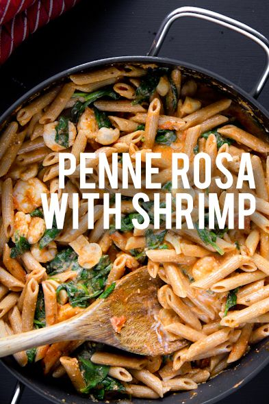 Penne Rosa with Shrimp *Whole wheat penne *Olive oil *Garlic *Crushed red pepper flakes *Button mushrooms *Tomatoes *Spinach *Shrimp *Marinara sauce *Plain Greek yogurt *Grated parmesan cheese