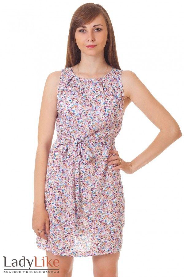 Коктейльное платье в мелкий цветочек