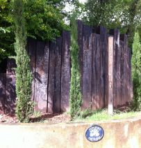 tideford orchard vertical entrance wall with used railway sleepers railway sleepersgarden design