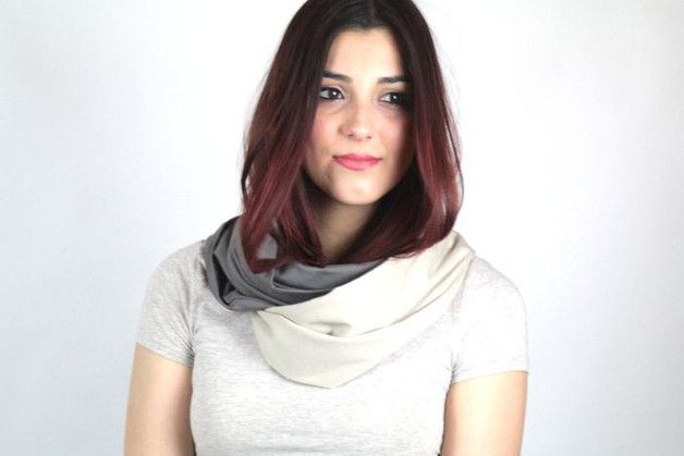 einfarbig - Loop-Schal Grau Beige Jersey genäht Schlauchschal - ein Designerstück von Knitters bei DaWanda